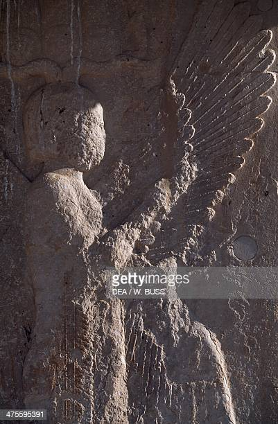 Relief with winged genie from the royal palace of Cyrus the Great Pasargad Iran Achaemenid civilisation 6th century BC Detail