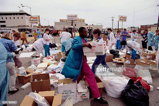 Relief workers carry boxes of medical supplies during the aftermath of the Oklahoma City bombing On April 19th a fuelandfertilizer truck bomb...