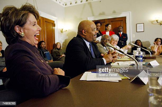 RELIEFHouse Minority Leader Nancy Pelosi DCalif forum moderator Joe Madison a radio host on WOL/AM and XM Radio Democratic Caucus Chair James E...