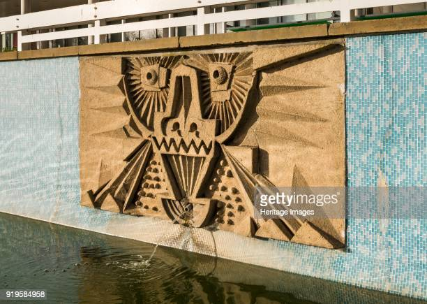 Relief/mosaic by William Mitchell the Water Gardens Harlow Essex 2015 Detail view from the southeast of relief/mosaic No 4 one of a series of seven...