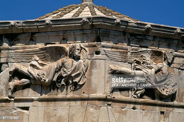 Reliefs depicting Euro and Apeliote Tower of the Winds Athens Greece Roman civilisation 2nd1st century BC