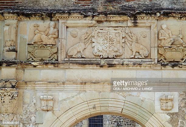 Reliefs in the church of Santiago Apostol Cuilapan Oaxaca Mexico 16th century