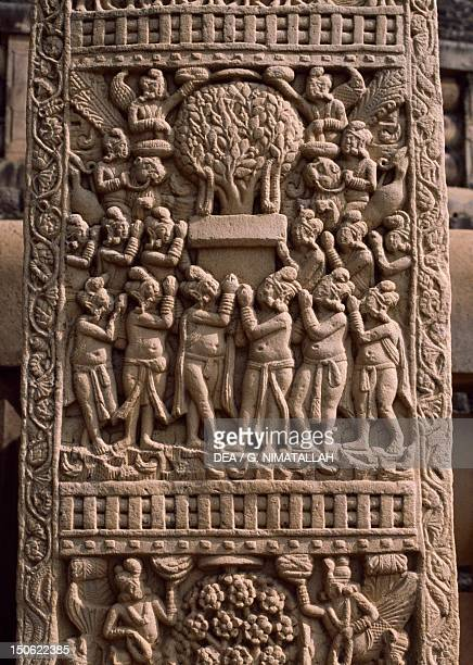 Reliefs of the west door of the Stupa I in Sanchi India Indian civilization 1st century BC