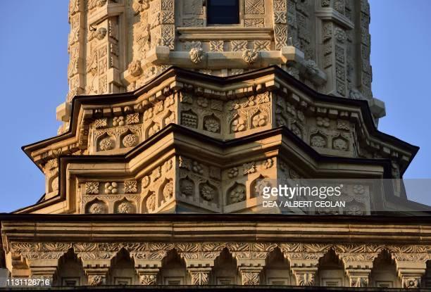 Reliefs on the bell tower of the Church of the Holy Spirit Dragomirna Monastery Mitocu Dragomirnei Bukovina Moldova Romania 17th century