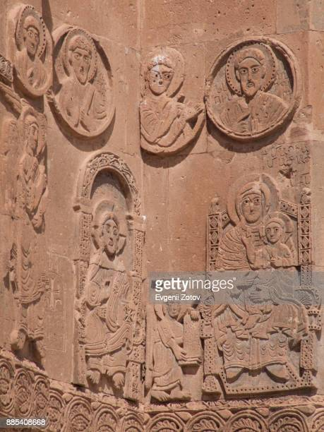 reliefs on the walls of cathedral of the holy cross on akdamar island in lake van, eastern turkey - bas relief stock pictures, royalty-free photos & images