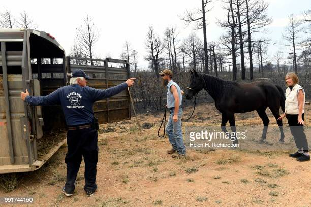 A relieved Dennis Ceremuga brings Dancer one of his three rescued horses into an awaiting trailer near their home in Piney Ridge Ranch on July 4 2018...