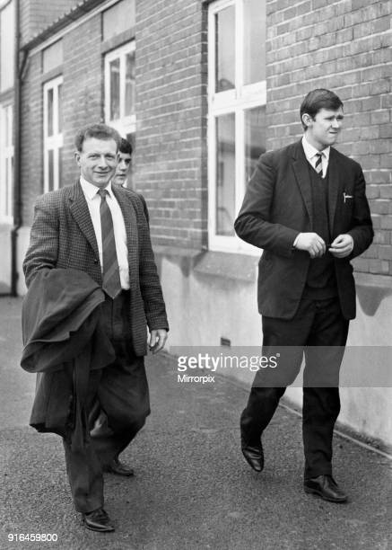 Relieved Stuart Watkins leaves Rodney Parade with Newport chairman Roy Burnett after hearing the club's decision to reinstate him, 1st February 1966.