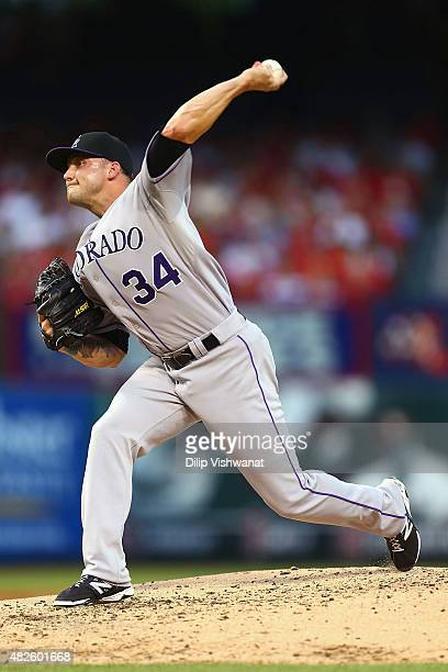 Reliever Aaron Laffey of the Colorado Rockies pitches against the St Louis Cardinals in the third inning at Busch Stadium on July 31 2015 in St Louis...