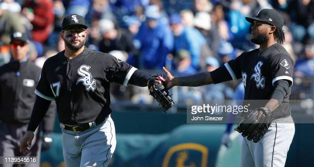 Reliever Alex Colome of the Chicago White Sox celebrates with first baseman Yonder Alonso after the last out in a 63 win for the White Sox against...