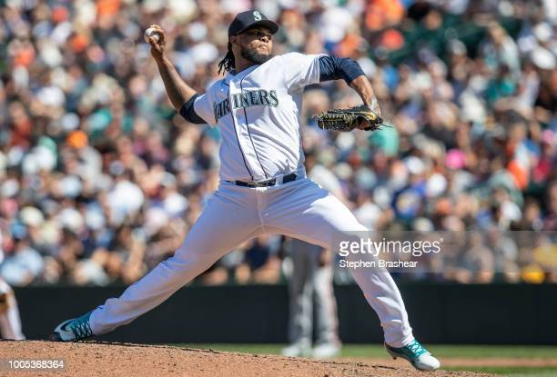 Reliever Alex Colome of the Seattle Mariners delivers a pitch during the eighth inning of a game against the San Francisco Giants at Safeco Field on...