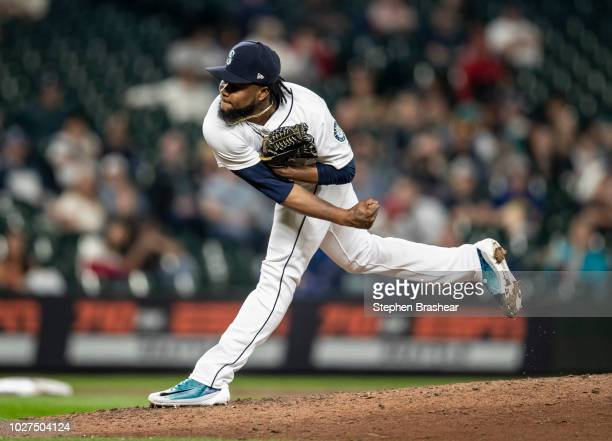 Reliever Alex Colome of the Seattle Mariners delivers a pitch during the eighth inning of a game against the Seattle Mariners at Safeco Field on...