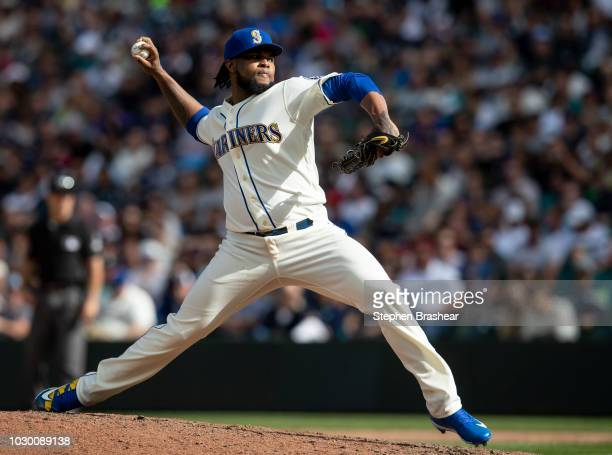 Reliever Alex Colome of the Seattle Mariners delivers a pitch during the eighth inning of a game against the New York Yankees at Safeco Field on...