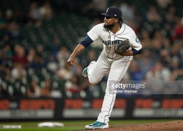 Reliever Alex Colome of the Seattle Mariners delivers a pitch during a game against the Baltimore Orioles at Safeco Field on September 5 2018 in...