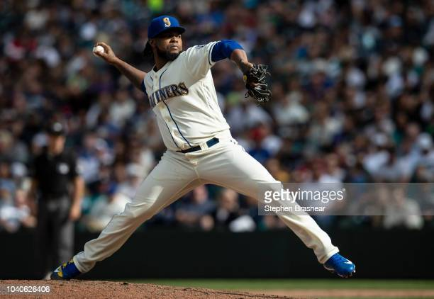 Reliever Alex Colome of the Seattle Mariners delivers a pitch during a game against the New York Yankees at Safeco Field on September 9 2018 in...