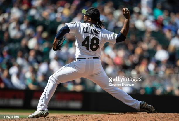 Reliever Alex Colome of the Seattle Mariners delivers a pitch during the eighth inning of a game against the Texas Rangers at Safeco Field on May 28...