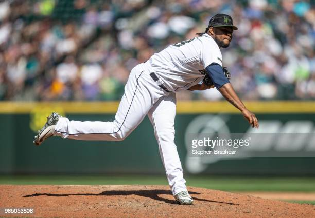 Reliever Alex Colome of the Seattle Mariners delivers a pitch during a game against the Minnesota Twins at Safeco Field on May 27 2018 in Seattle...