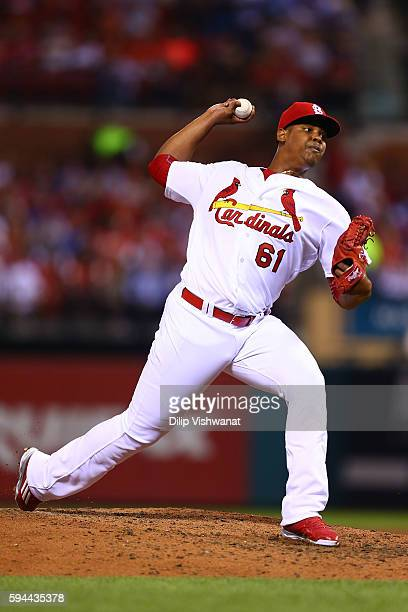 Reliever Alex Reyes of the St Louis Cardinals pitches against the New York Mets in the fifth inning at Busch Stadium on August 24 2016 in St Louis...