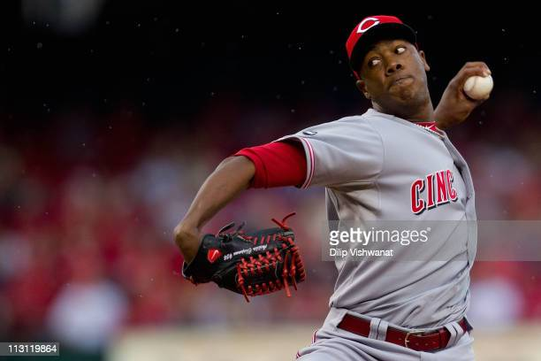 Reliever Aroldis Chapman of the Cincinnati Reds pitches against the St. Louis Cardinals at Busch Stadium on April 23, 2011 in St. Louis, Missouri.