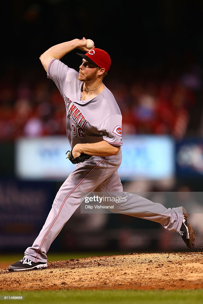 Reliever Blake Wood #36 of the Cincinnati Reds pitches against the St. Louis Cardinals in the eighth inning at Busch Stadium on September 29, 2016 in St. Louis, Missouri.