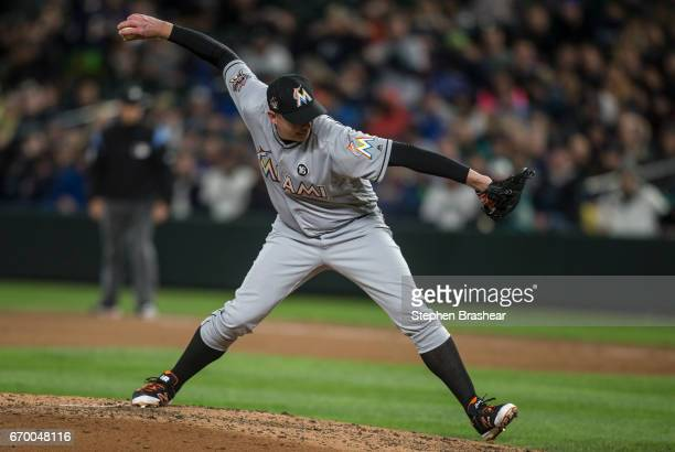 Reliever Brad Ziegler of the Miami Marlins delivers a pitch during the ninth inning of a game at Safeco Field on April 18 2017 in Seattle Washington...