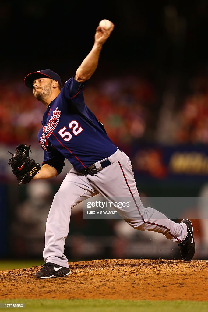 Reliever Brian Duensing #52 of the Minnesota Twins pitches against the St. Louis Cardinals in the sixth inning at Busch Stadium on June 15, 2015 in St. Louis, Missouri.