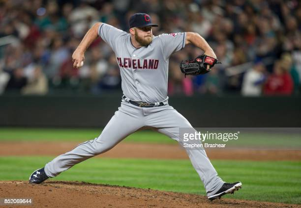 Reliever Cody Allen of the Cleveland Indians delivers a pitch during the ninth inning of a game against the Seattle Mariners at Safeco Field on...