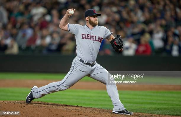 Reliever Cody Allen of the Cleveland Indians delivers a pitch during a game against the Seattle Mariners at Safeco Field on September 22 2017 in...