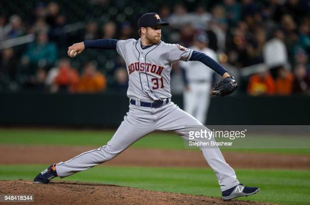 Reliever Collin McHugh of the Houston Astros delivers a pitch during the ninth inning of a game against the Seattle Mariners at Safeco Field on April...