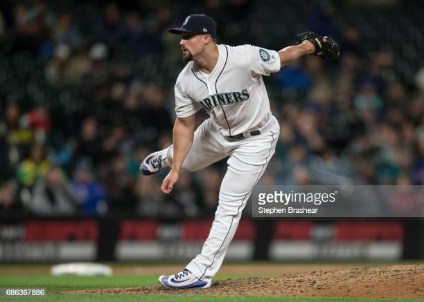 Reliever Dan Altavilla of the Seattle Mariners delivers a pitch during a game against the Oakland Athletics at Safeco Field on May 16 2017 in Seattle...