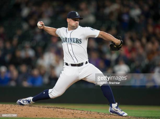 Reliever Dan Altavilla of the Seattle Mariners delivers a pitch during a game against the Minnesota Twins at Safeco Field on June 8 2017 in Seattle...