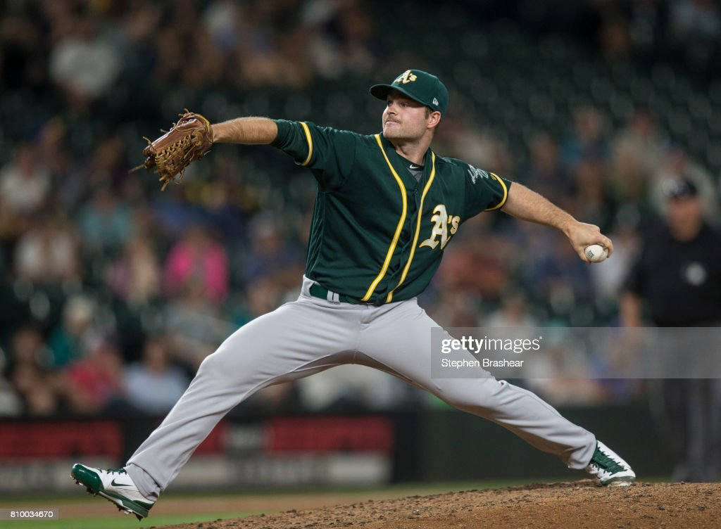 Reliever Daniel Coulombe #35 of the Oakland Athletics delivers a pitch during the ninth inning of a game against the Seattle Mariners at Safeco Field on July 6, 2017 in Seattle, Washington. The Athletics won 7-4.