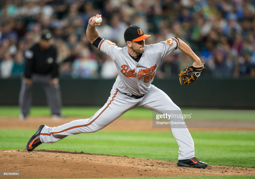 Reliever Darren O'Day #56 of the Baltimore Orioles delivers a pitch during the fifth inning of a game against the Seattle Mariners at Safeco Field on August 15, 2017 in Seattle, Washington.