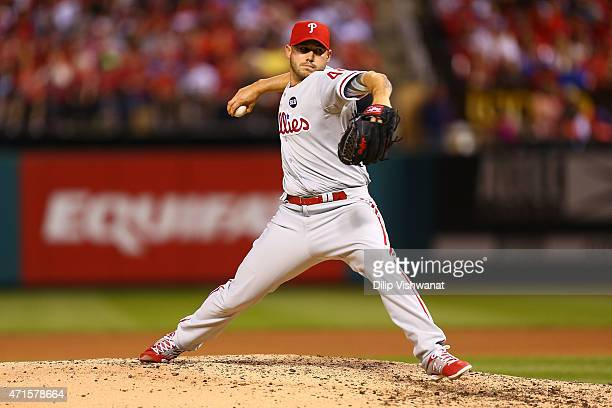 Reliever Dustin McGowan of the Philadelphia Phillies pitches against the St Louis Cardinals in the eighth inning at Busch Stadium on April 29 2015 in...