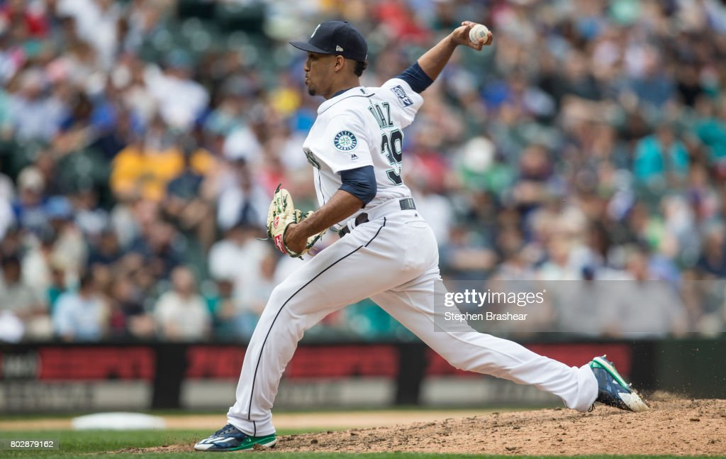 Reliever Edwin Diaz #39 of the Seattle Mariners delivers a pitch during the ninth inning of an interleague game against the Philadelphia Phillies at Safeco Field on June 28, 2017 in Seattle, Washington. The Phillies won 5-4.