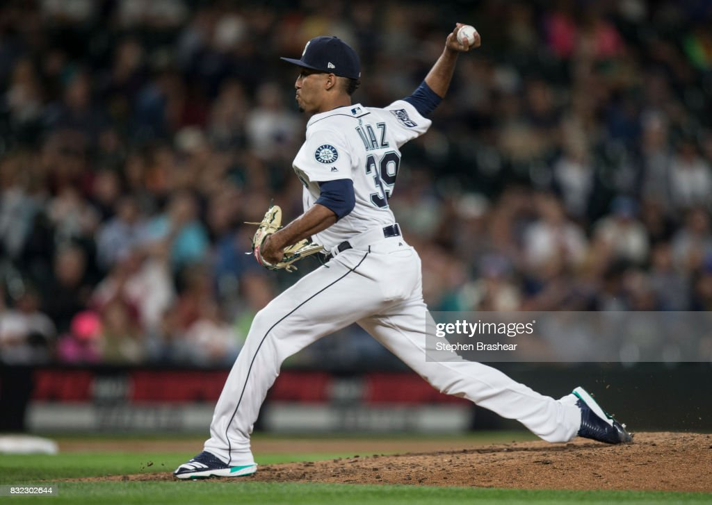 Reliever Edwin Diaz #39 of the Seattle Mariners delivers a pitch during the ninth inning of a game against the Baltimore Orioles at Safeco Field on August 15, 2017 in Seattle, Washington. The Mariners won the game 3-1 and Diaz got the save.