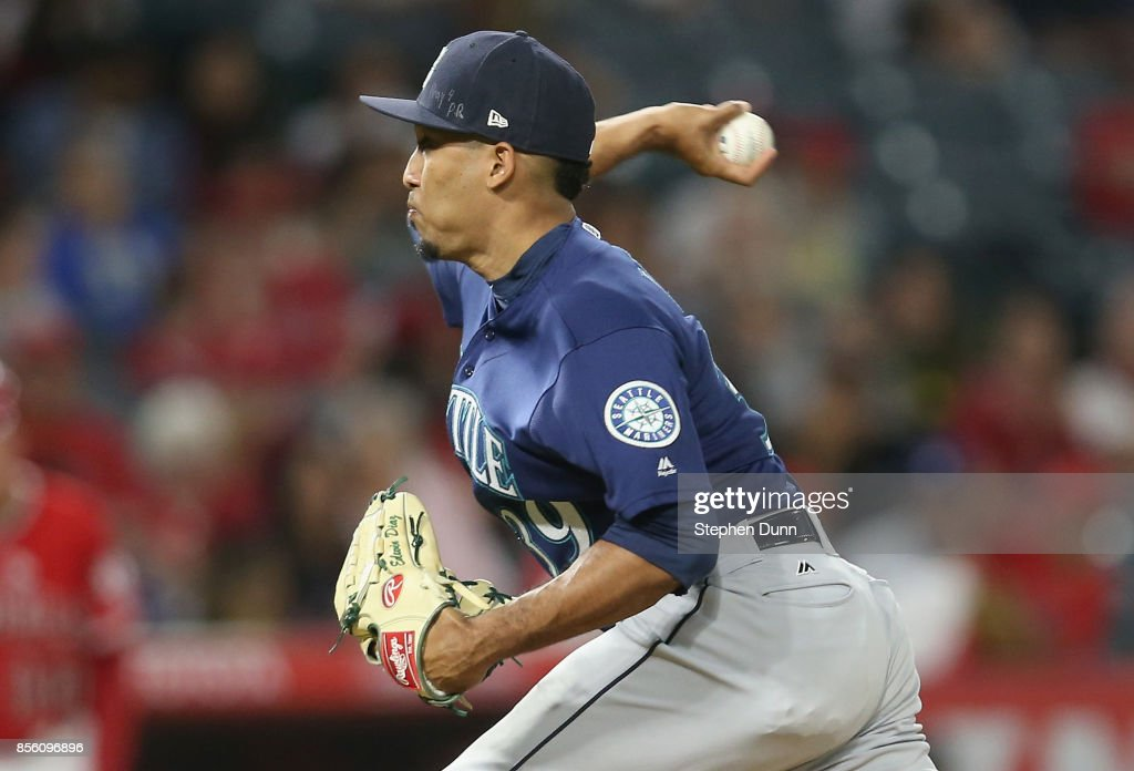 Reliever Edwin Diaz #39 of the Seattle Mariners throws a pitch in the ninth inning on his way to picking up the save against the Los Angeles Angels of Anaheim on September 30, 2017 at Angel Stadium of Anaheim in Anaheim, California. The Mariners won 6-4.