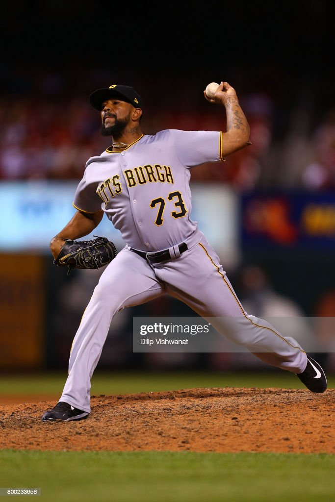 Reliever Felipe Rivero #73 of the Pittsburgh Pirates pitches against the St. Louis Cardinals in the ninth inning at Busch Stadium on June 23, 2017 in St. Louis, Missouri.