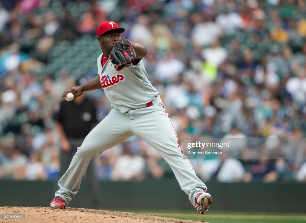 Reliever Hector Neris #50 of the Philadelphia Phillies delivers a pitch during the ninth inning of an interleague game against the Seattle Mariners at Safeco Field on June 28, 2017 in Seattle, Washington. The Phillies won 5-4.