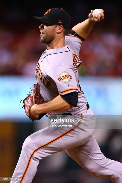 Reliever Hunter Strickland of the San Francisco Giants pitches against the St Louis Cardinals in the eleventh inning at Busch Stadium on May 20 2017...