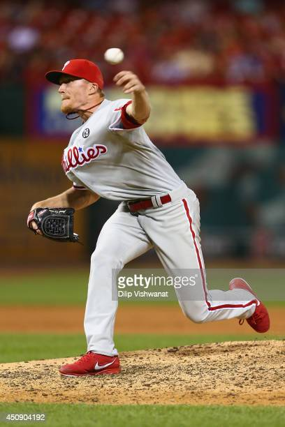 Reliever Jacob Diekman of the Philadelphia Phillies pitches against the St Louis Cardinals in the eighth inning at Busch Stadium on June 19 2014 in...