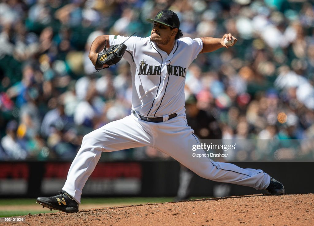 Reliever James Pazos #47 of the Seattle Mariners delivers a pitch during the seventh inning of a game against the Texas Rangers at Safeco Field on May 28, 2018 in Seattle, Washington. The Mariners won the game 2-1. MLB players across the league are wearing special uniforms to commemorate Memorial Day.