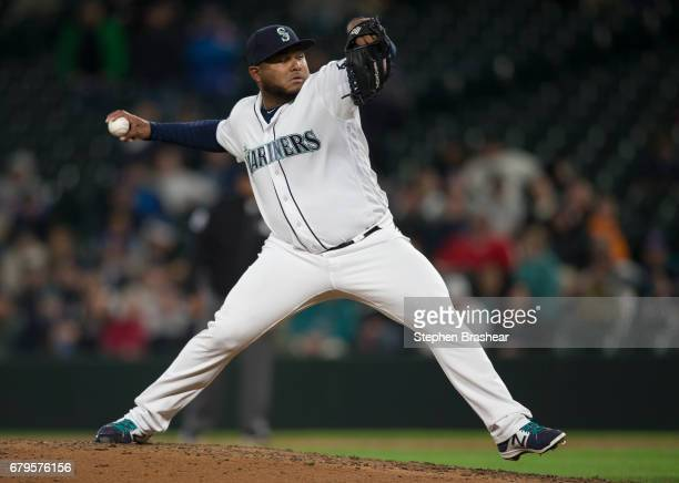 Reliever Jean Machi of the Seattle Mariners delivers a pitch during a game against the Los Angeles Angels of Anaheim at Safeco Field on May 2 2017 in...
