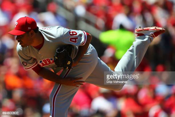Reliever Jeanmar Gomez of the the Philadelphia Phillies delivers a pitch against the St Louis Cardinals in the sixth inning at Busch Stadium on June...