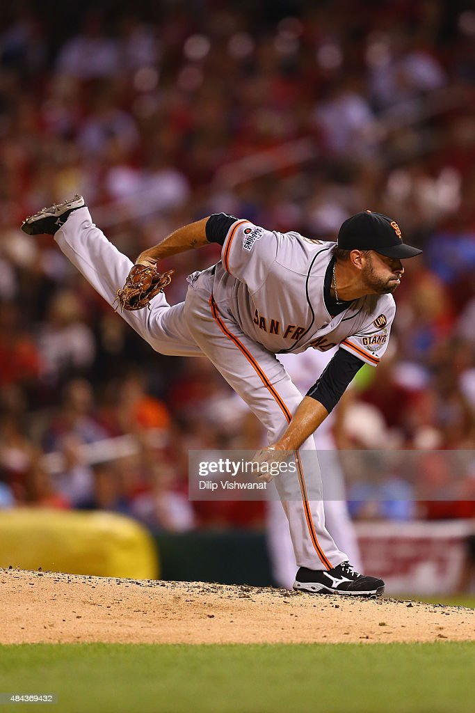 Reliever Jeremy Affeldt #41 of the San Francisco Giants pitches against the St. Louis Cardinals in the seventh inning at Busch Stadium on August 17, 2015 in St. Louis, Missouri.