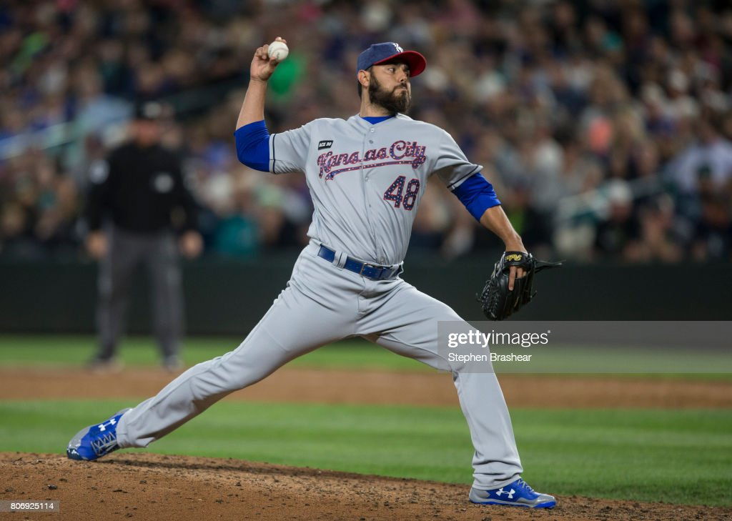 Reliever Joakim Soria #48 of the Kansas City Royals delivers a pitch during the ninth inning of a game at Safeco Field on July 3, 2017 in Seattle, Washington. The Royals won the game 3-1 and Soria got the save.