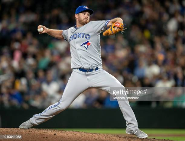 Reliever Joe Biagini of the Toronto Blue Jays delivers a pitch during the seventh inning of a game against the Seattle Mariners at Safeco Field on...