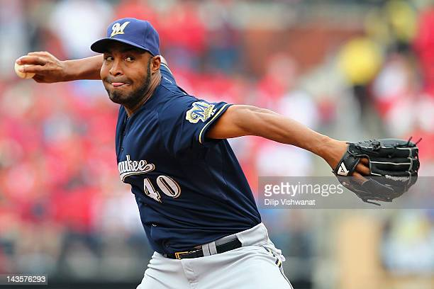Reliever Jose Veras of the Milwaukee Brewers pitches against the St Louis Cardinals at Busch Stadium on April 29 2012 in St Louis Missouri The...