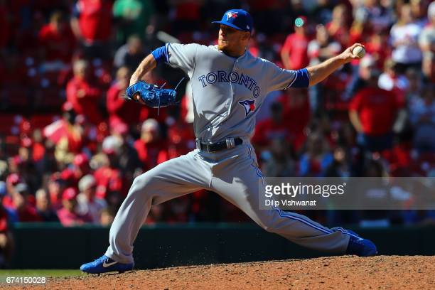 Reliever JP Howell of the Toronto Blue Jays pitches against the St Louis Cardinals in the eleventh inning at Busch Stadium on April 27 2017 in St...