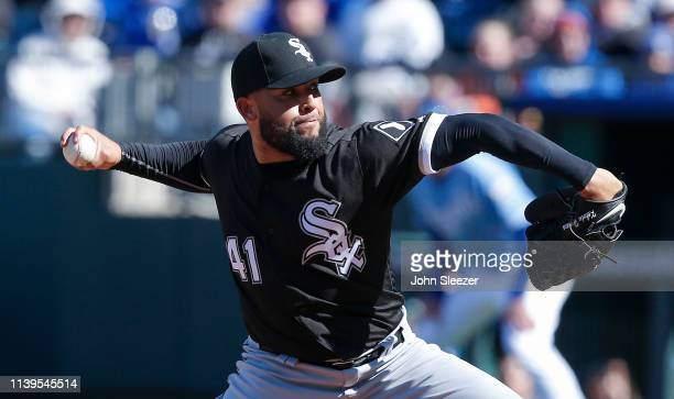 Reliever Kelvin Herrera of the Chicago White Sox throws in the eighth inning during the game against the Kansas City Royals at Kauffman Stadium on...