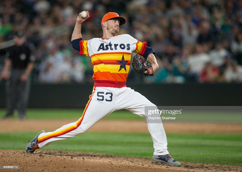 Reliever Ken Giles #53 of the Houston Astros delivers a pitch during the ninth inning of a game against the Seattle Mariners at Safeco Field on June 24, 2017 in Seattle, Washington. The Astros won 5-2.